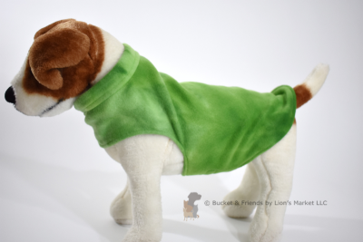 Soft and warm fleece dog coat size small by bucketandfriends.com. Green tie dye.