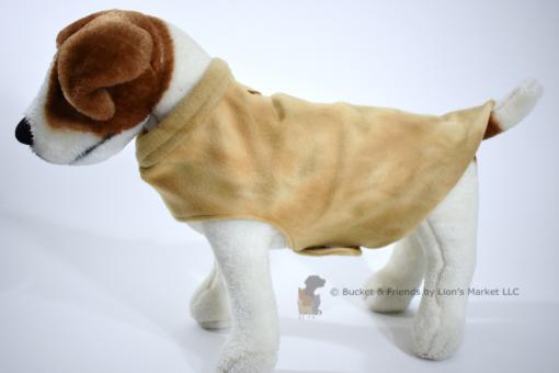 Soft and warm fleece dog coat size small by bucketandfriends.com. Tan tie dye.