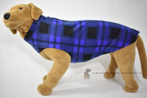 Soft and warm fleece dog coat size extra large by bucketandfriends.com. Cobalt blue and black plaid.