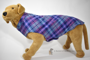 Soft and warm fleece dog coat size extra large by bucketandfriends.com. Blue and pink plaid.
