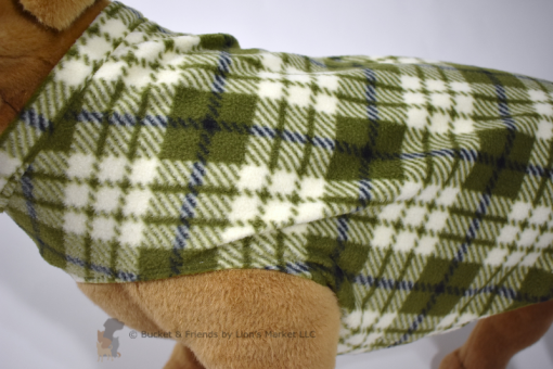Soft and warm fleece dog coat size extra large by bucketandfriends.com. Green and white plaid.