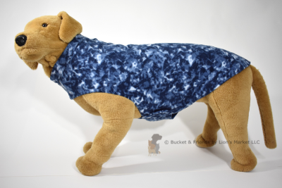 Soft and warm fleece dog coat size extra large by bucketandfriends.com. Navy blue.