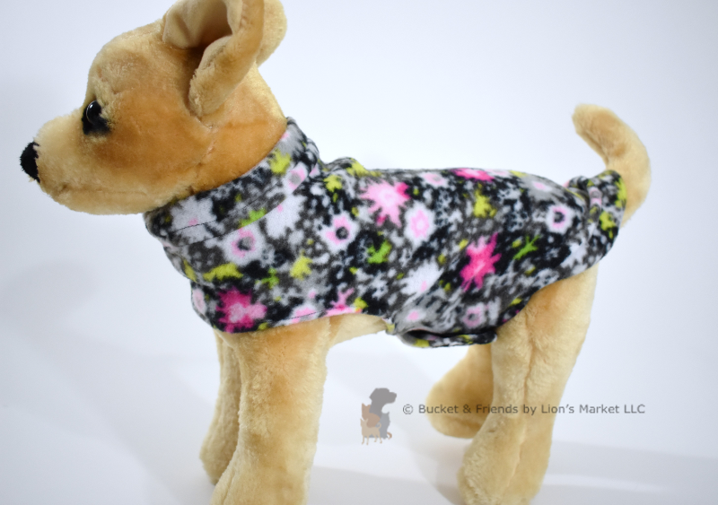 Soft and warm fleece dog coat size extra small by bucketandfriends.com. Black with pink wildflowers.