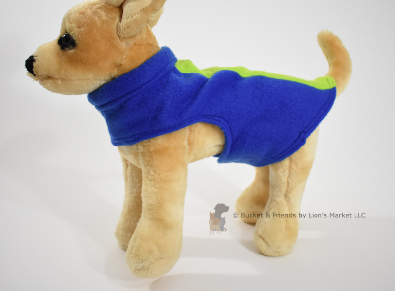 Soft and warm fleece dog coat size extra small by bucketandfriends.com. Blue with lime stripe.