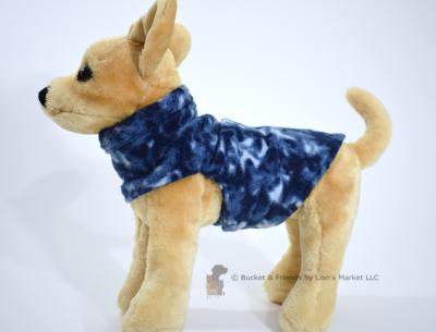 Soft and warm fleece dog coat size extra small by bucketandfriends.com. Navy.