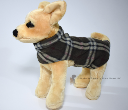 Soft and warm fleece dog coat size extra small by bucketandfriends.com. Olive plaid.