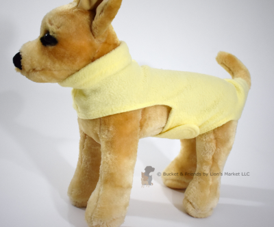 Soft and warm fleece dog coat size extra small by bucketandfriends.com. Pale yellow.
