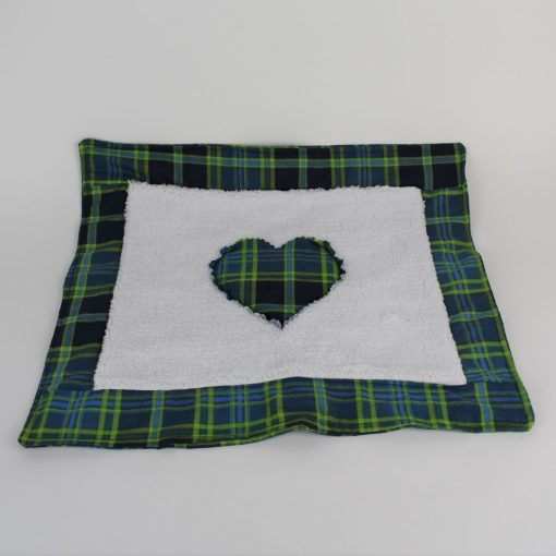 Refillable Catnip Mat in green and blue plaid