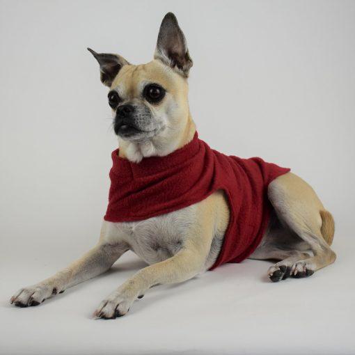 Fleece Dog Coat in Chili Red